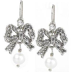 NWOT Juicy Couture Crystal and Pearl Bow Earrings
